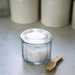 Pressed Glass Salt Pot with Spoon - Vintage Style