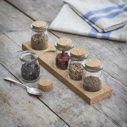 Spice Rack With Cork Stand & 5 Glass Jars