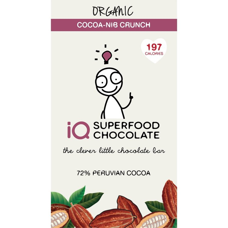 Organic Cocoa Nib Crunch Raw Chocolate Bar 35g