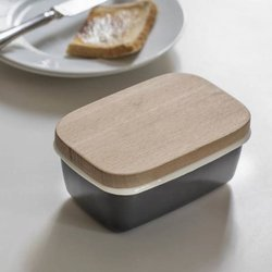 Charcoal Enamel Butter Dish with Wooden Lid