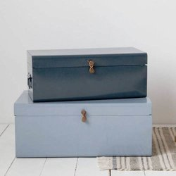 Set of 2 Iron Coated Grey Metal Storage Trunks