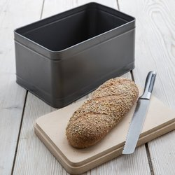 Coated Steel Bread Box with Beech Wood Lid