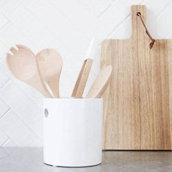 Small White Stoneware Cutlery & Utensil Holder