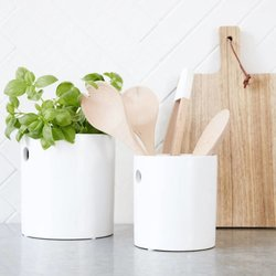 Large White Stoneware Cutlery & Utensil Holder