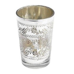 Antiqued Silver Glass Tealight Holder