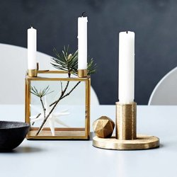 Square Brass Candlestand For Four Candles