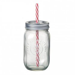 Jam Jar Drink Glass with Stripy Straw