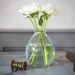 Large Recycled Round Glass Vase Hand-Blown