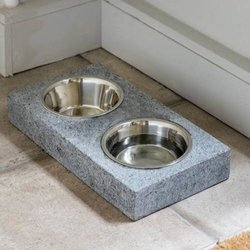 Non-Spill Granite Pet Bowl Holder Station with Removable Large Stainless Steel Food & Water Bowls