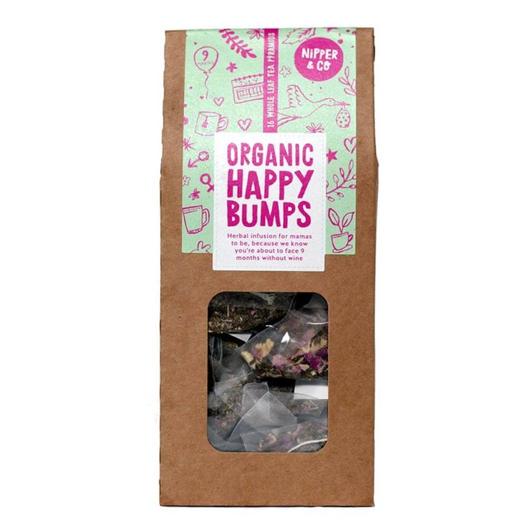 Organic 'Happy Bumps' Herbal Tea With Raspberry Leaf for Pregnant Women 16 Tea Bags (Caffeine Free)