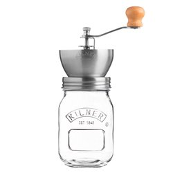 Kilner Stainless Steel Coffee Grinder with Glass Storage Jar & Lid