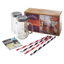 Kilner 9 Piece Glass Mug, Straw & Flower Lid Set