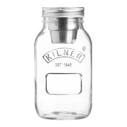Kilner 1 Litre Food On The Go Glass Jar with Stainless Steel Storage Pot & Lid