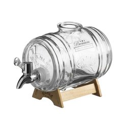 Kilner 1 Litre Glass Barrel Spirits Dispenser With Pine Wood Stand & Stainless Steel Stopper