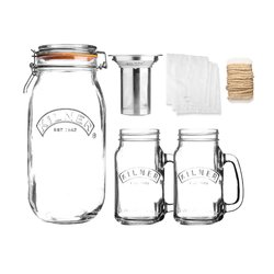 Kilner Glass Cold Brew Coffee Making Set With Stainless Steel Coffee Filter & Handled Jars