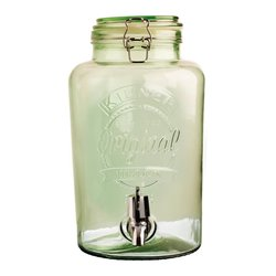 Kilner Round Clip Top Green Glass Drinks Dispenser 5 Litre