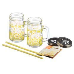 Kilner 7 Piece Glass Lemonade Drinks Gift Set Inc. Reusable Straws & Lemonade Design Jars