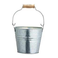 Steel Mini Serving Pail Bucket 12cm (For Chips, Bread, Veg, Barbecues)
