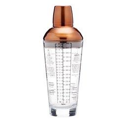 Copper Finish Glass Boston Cocktail Shaker 700ml