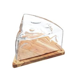 Cheese Wedge Cloche with Acacia Wood Cheese Board