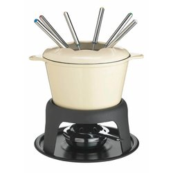 Cream Cast Iron Enameled Fondue Gift Set with Forks