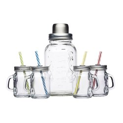 Glass Cocktail Kit with Shaker, 4 Mini Drink Jars & Straws by Bar Craft