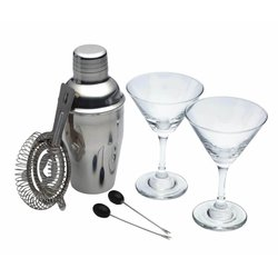 6 Piece Mini Martini Cocktail Set with Stainless Steel Cocktail Shaker, Mini Martini Glasses & Strainer