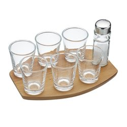 8 Piece Tequila Shot Gift Set with Acacia Wood Serving Tray & Salt Shaker