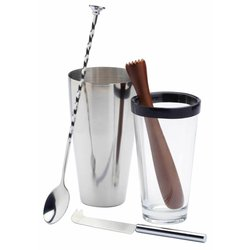 4 Piece Mojito Cocktail Set with Shaker, Mixing Tumbler, Bar Knife & Wooden Muddler