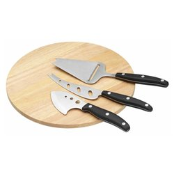 Cheese Serving Set with Wooden Cheese Board & Cheese Knife, Plane & Cleaver