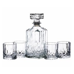 Cut Glass Whisky Decanter & 4 Tumbler Set