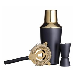 Three Piece Cocktail Set Matt Black & Brass With Shaker, Jigger & Strainer