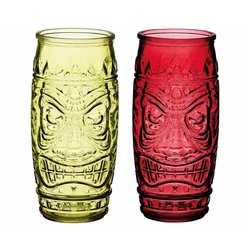 Tiki Head Glasses in Gift Box With Cocktail Recipes