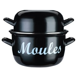 Large Enamel Mussel 'Moules' & Shellfish Cooking Pot - Black