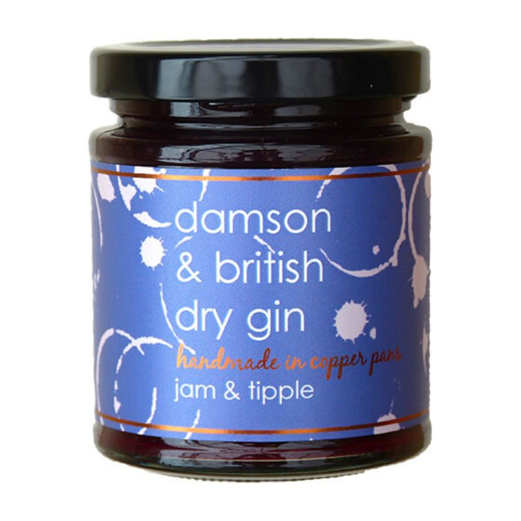 Damson & British Dry Gin Jam 227g (For Breakfasts, Cheese & Desserts)
