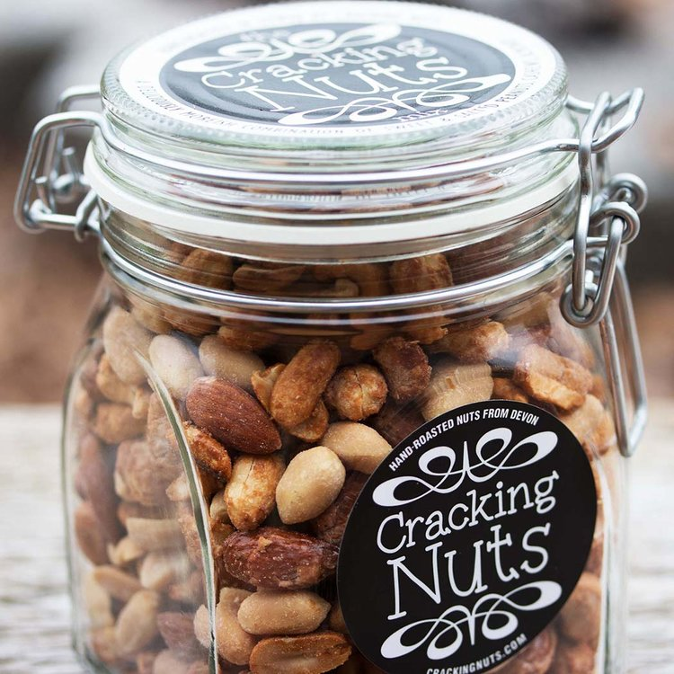 'The Cracking Mix' - Peanuts, Cashews & Almonds - Roasted Sweet, Salted & Chilli Nuts in Clip Jar 450g