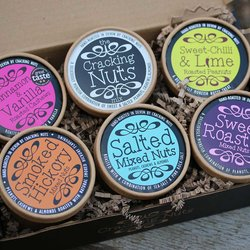 6 Nut Tub Selection Gift Box Inc. Hand-Roasted Peanuts, Cashews & Almonds