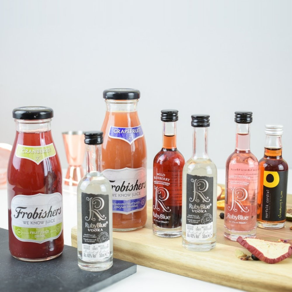 Ruby Blue Premium Potato Vodka Cocktail Gift Set (Makes Cosmopolitan & Martini)