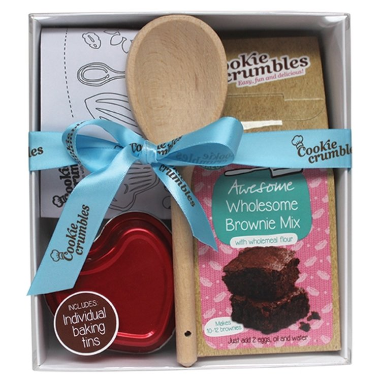 'Awesome Brownie' Baking Gift Box with Heart-Shaped Tins, Chef's Hat & Wooden Spoon
