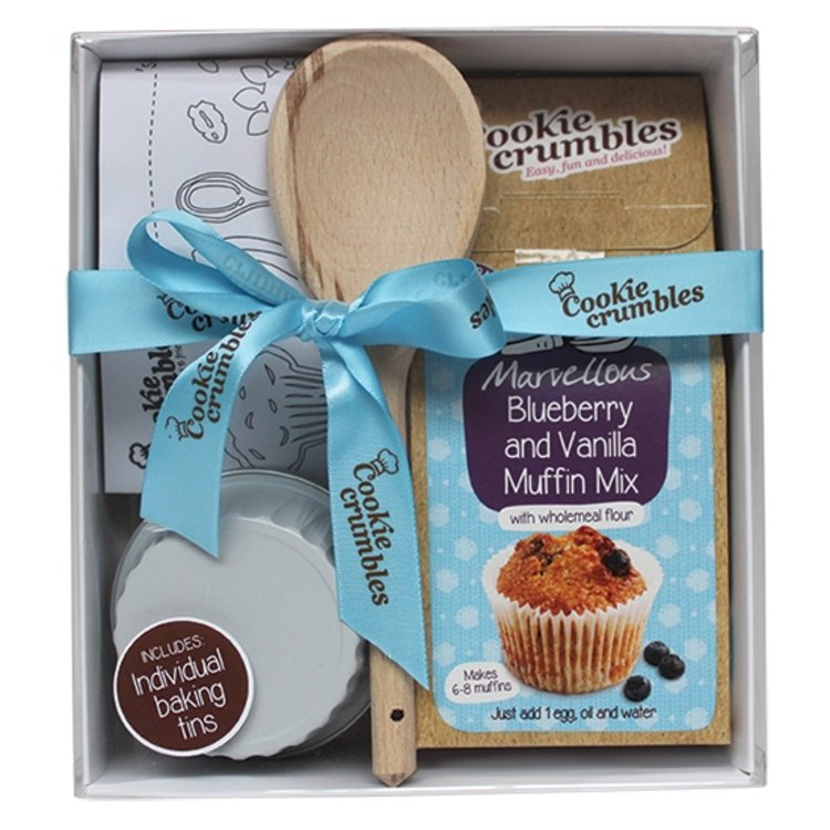 Blueberry & Vanilla Muffin Baking Gift Box with Baking Tins, Chef's Hat & Wooden Spoon