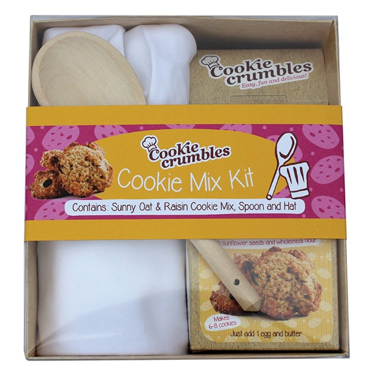 Oat & Raisin Cookie Mix Baking Gift Box with Chef's Hat & Wooden Spoon