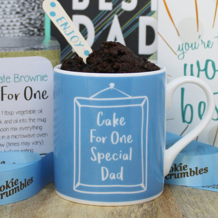 Mug Cake Gift for Dad with Chocolate Chip Brownie Mix & Spoon