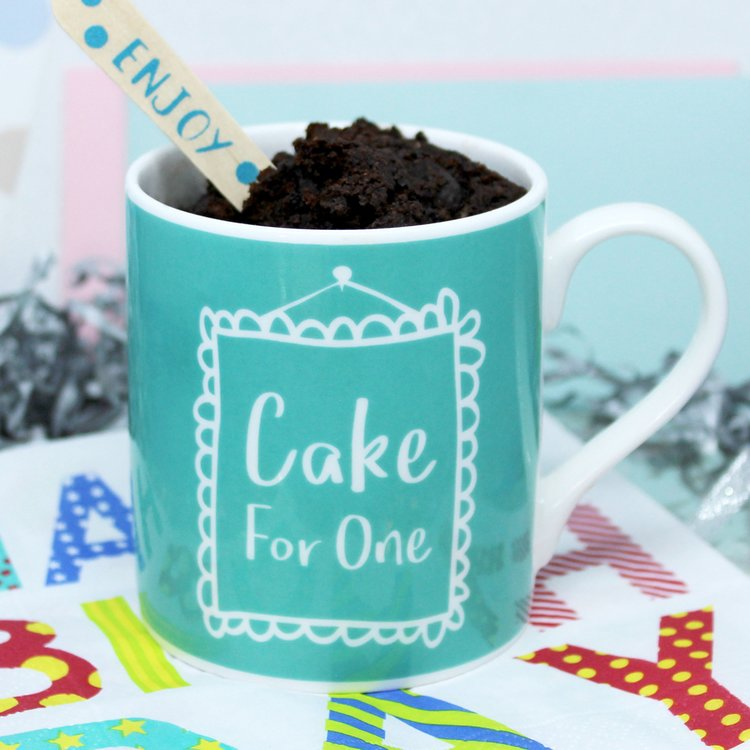 Mug Cake Gift for One with Chocolate Chip Brownie Mix & Spoon