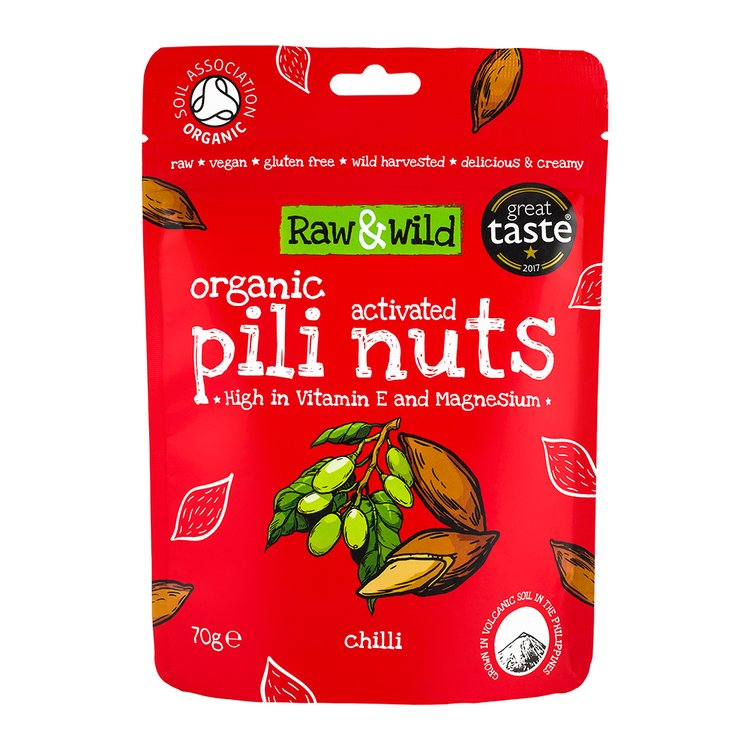 70g Chilli Raw Activated Pili Nuts Snack Pouch