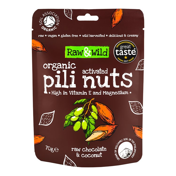 70g Chocolate & Coconut Raw Activated Pili Nuts Snack Pouch