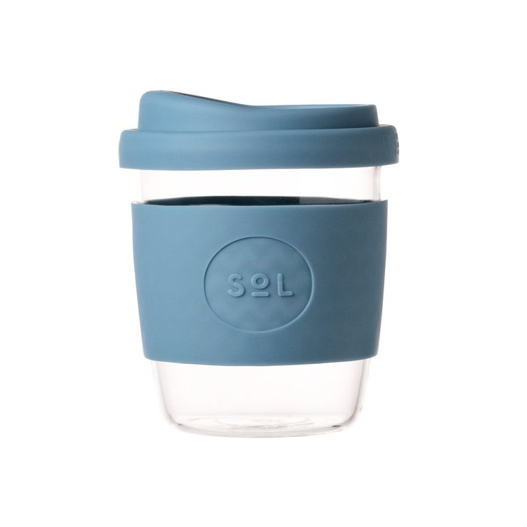 8oz Blue Stone Hand-Blown Reusable Glass Coffee Cup With Lid