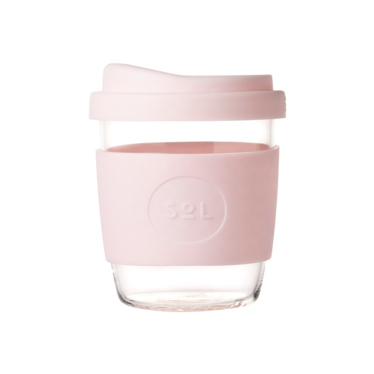 8oz Perfect Pink Hand-Blown Reusable Glass Coffee Cup With Lid
