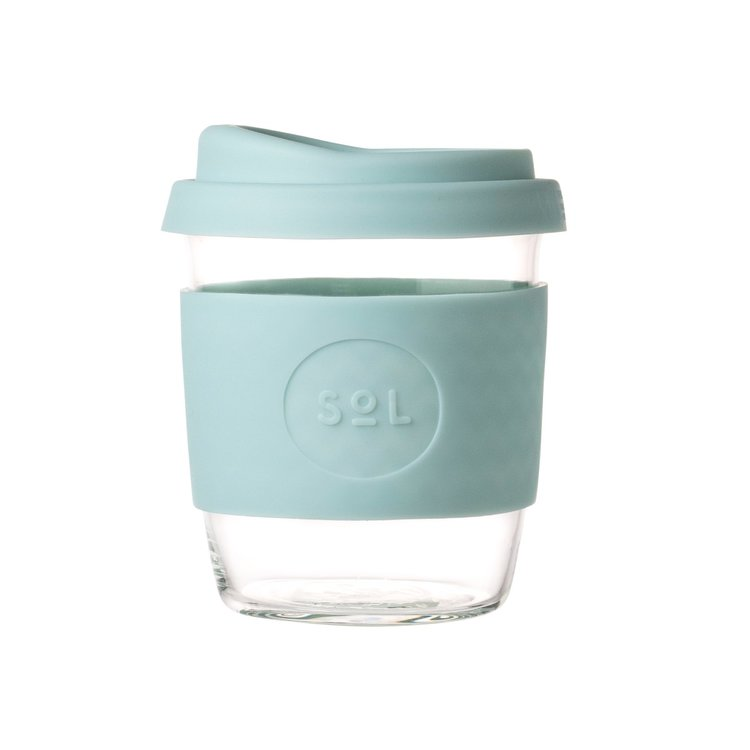 8oz Cool Cyan Hand-Blown Reusable Glass Coffee Cup With Lid