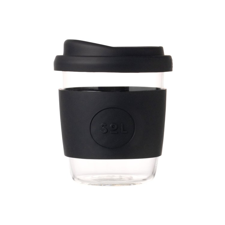 8oz Basalt Black Hand-Blown Reusable Glass Coffee Cup With Lid