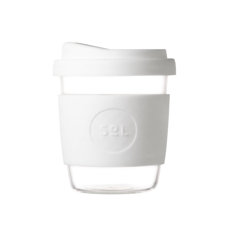8oz White Wave Hand-Blown Reusable Glass Coffee Cup With Lid